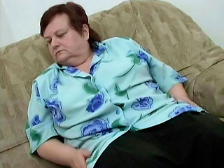fat Older Woman Masturbating on the Couch
